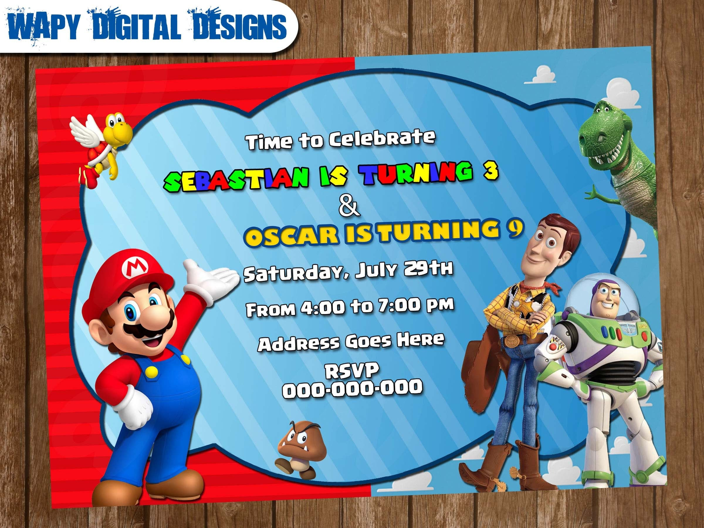 Super Mario Bros Toy Story Mix Digital Party invitation customize