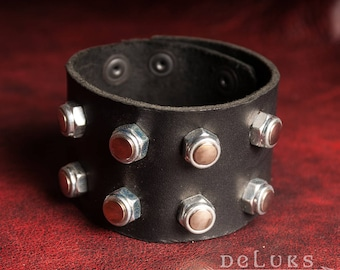 stainless steel rivets , Motorcycle Bracelet - Studded Genuine Leather Motorcycle Buckle Bracelet - Biker Bracelet