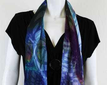 Silk Scarf,Hand Painted Silk Scarf,Wearable Art, Summer Scarf ,Designer Scarf, Gift For Her, Fashion Scarf,Silk Wrap, Digital Art,Long Scarf