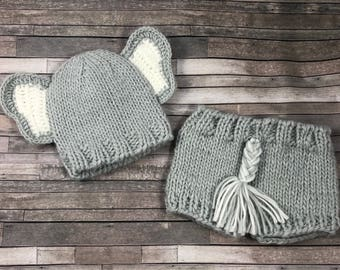Baby knit elephant outfit