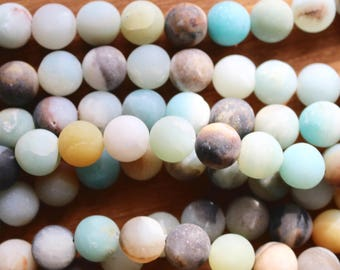 10mm Frosted Amazonite beads, full strand, natural stone beads, round, 10013