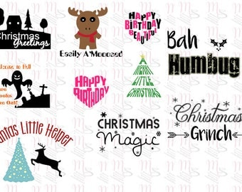 Mixed Occasions SVG Pack, Digital Download SVG Cutting File, Silhouette, Cricut, Wordart, Mix, Christmas, Occasions