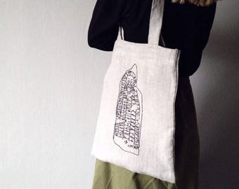 Linen ecobag with runic embroidery