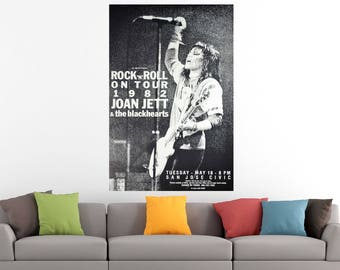 Joan Jett & The Blackhearts Rock Vintage Music Concert Art Print Poster Canvas/Glossy HD Canvas, Gallery Wrap Or Glossy Poster