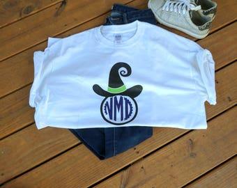 Halloween Witch Hat Monogram T-shirt