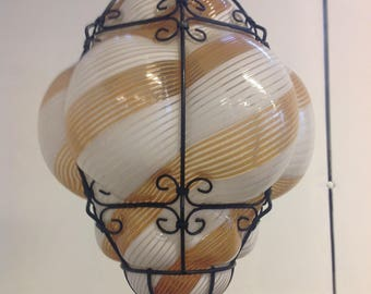 Midcentury Murano glass Venice 'mezza filigrana' caged pendant light