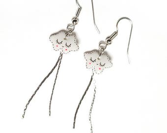Serpentine clouds dotted earrings
