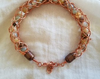 6 to 8 inch copper wire wrapped bracelet w/Amazonite 8mm beads