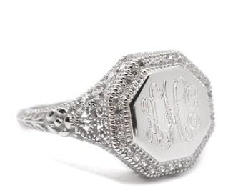 Sterling Silver Monogram Filigree Ring