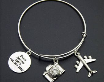 Silver Wanderlust Bangle Version (4) *FREE SHIPPING*Travel Jewellery, Travel Gift, Wanderlust Jewellery, Adventure Bracelet