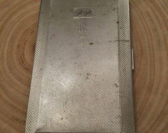 Silver plated Har-bro vintage cigarette case engraved P.R.