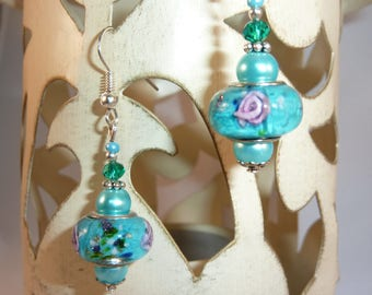 """pink turquoise"" Silver earrings jewelry"