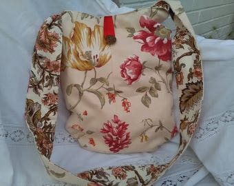 Beautiful handmade floral tote shopping handbag bag.