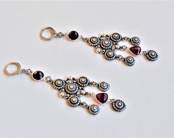 "Earrings Baroque ""grenades"" - set red garnets and chiseled connectors"