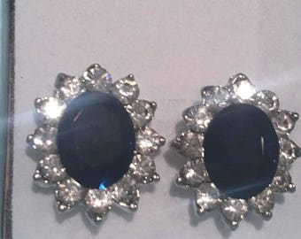 Beautiful kate middleton Diana Swarovski Element Sapphire earrings with clear cz
