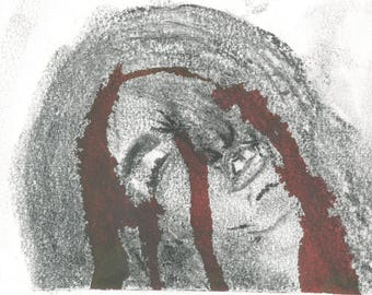 """Hand Painted Charcoal and Watercolor Painting/Greeting Card """"Bloodied"""""""