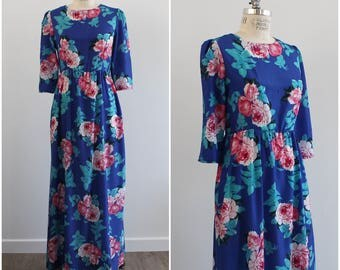 Floral Maxi Blue Dress with Pink Peonies/ Empire Waist/ Muumuu Style/ Tropical/ Flowers/ Medium