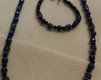 3 pice blue,and black jewelry set