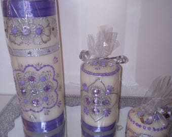 set 3 candles with assorted tray