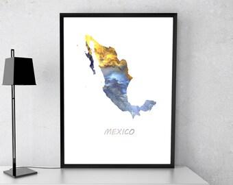 Mexico poster, Mexico art, Mexico map, Mexico print, Gift print, Poster