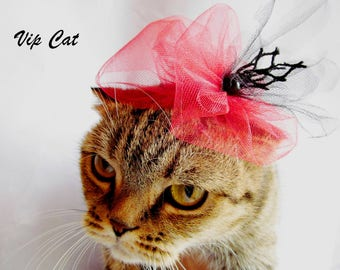 Hat for a cat Red hat cat Wedding cat Fashion cat Dog hat  Pet hat Funny pet  Cat costume  Pet costume  Dog costume Cat wedding Hat Cat hat