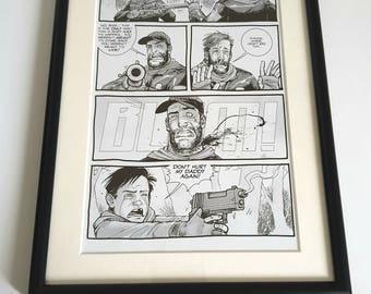 "Original ""The Walking Dead"" Comic Book Strip in Black A4 Frame. Framed Comic Gift"