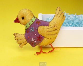 "5"" hand stitched yellow chick chicken hanging / felted felt decoration / felt hanging ornament chic felt / easter primitive decor"