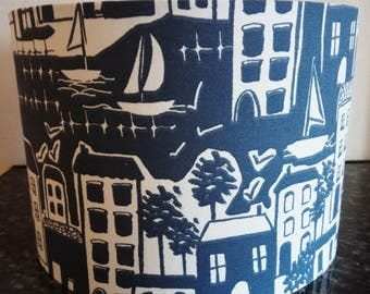Lampshade Dark Blue / Handmade Light Shade / Beach Houses / For Floor Lamp/ For Ceiling Lamp / Pendant / Lampshades/ Drum / Floral