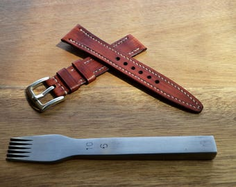 Handmade kangaroo leather watch strap