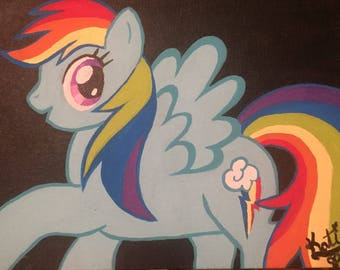 Rainbow Dash Painting-Wall Decor, Wall Art, Childrens Decor, My Little Pony, Hand Painted Canvas, Kids Room