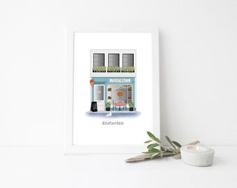 Amsterdam Travel Art Print - Stroopwafel Shop