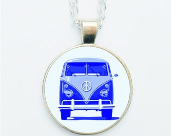 VW Camper Van Pendant Necklace Earrings Ring or Pin Badge Blue Glamping Gift Volkswagen Cavavan Hippy Glampers Campers Camper Driver Gift