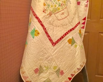Nursery rhyme baby quilt, wall hanging or throw quilt 55x55
