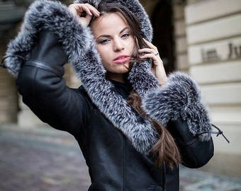 LEATHER coat with FOX FUR sheepskin jacket for women black shearling coat natural handmade christmas gift for her genuine real fox fur