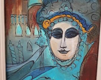 """Manzini """"Mask"""" painting"""