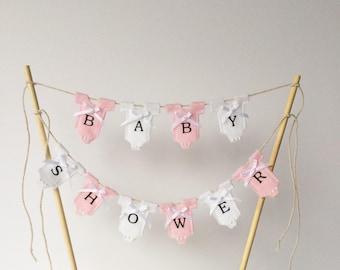 Baby shower cake topper. Cake bunting . Girl cake topper . Pink cake topper .