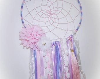 Handmade Pink and purple Web dreamcatcher with tassel