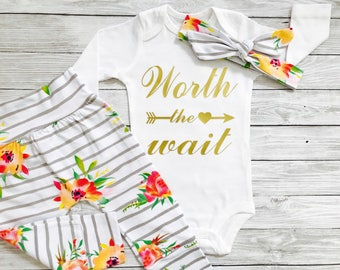 Newborn Outfit, Newborn Girl Outfit, Newborn Girl Coming Home Outfit, Newborn Girl, Worth The Wait Newborn Outfit, Newborn Outfit Girl
