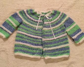 Striped Blue Bab Jacket, up to 9 mos.
