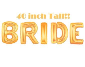 """40"""" BRIDE Balloons- Gold BRIDE Balloons- Wedding Decoration- Wedding Balloons- Giant BRIDE Balloons"""