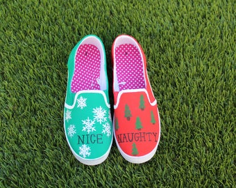 """Ugly Christmas Sweater shoes - """"Naughty or Nice"""" design"""