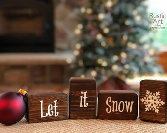 Let it Snow | Reclaimed Pine Wood | Rustic Decorative Small Blocks
