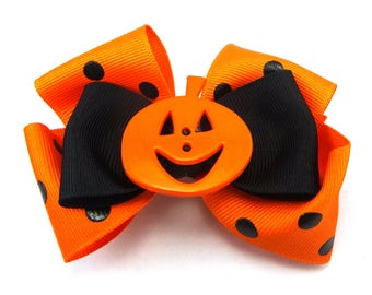 "4"" Orange and Black Stacked Halloween Hair Bow, Pumpkin Boutique Bow, Halloween Bow, Girl's Hair Bow, Polka Dot Ribbon Bow, Halloween Bow"