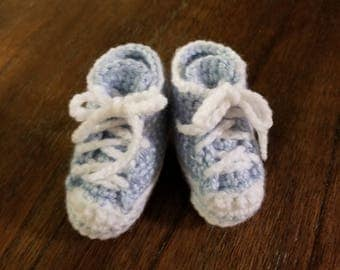 Blue Baby Boy Hightops/Blue Baby Sneakers/Blue Crochet Booties/Baby Boy Crib Shoes/Ready to Ship