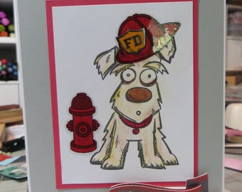 Handmade card, Fire department card, fire department.
