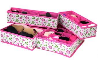 Pink floral drawer organizer set