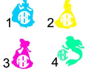 Custom Disney Princess Inspired Monogram Decal