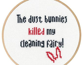 Dust Bunnies Cross Stitch