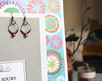 Purple glass bead dangle earring