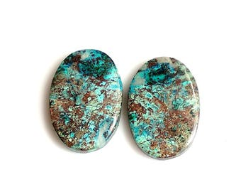 Azurite Oval Pair Cabochon,Size- 21x14, MM, Natural Azurite, AAA,Quality  Loose Gemstone, Smooth Cabochons.